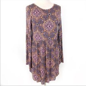 O'Neill Long Sleeve Purple Print Boho Dress Large